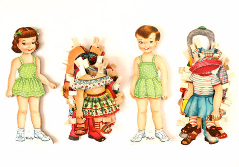 "Vintage Paper Doll ""Polly"" and ""Peter"" with Clothing (c.1950s) - ThirdShiftVintage.com"