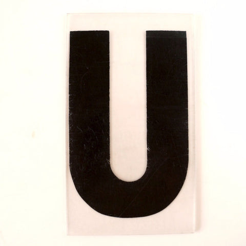 "Vintage Industrial Marquee Sign Letter ""U"", Black on Clear Thick Acrylic, 7"" tall (c.1970s) - ThirdShift Vintage"