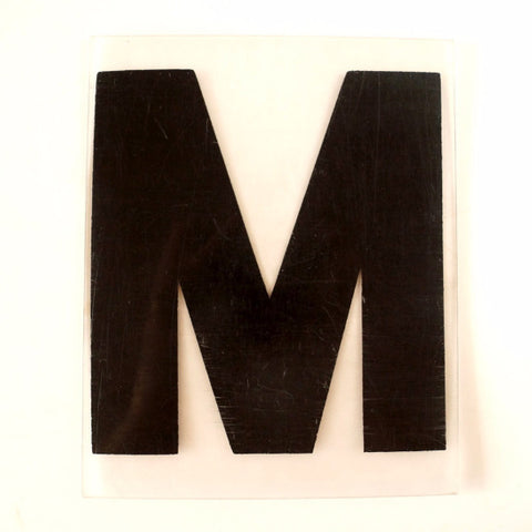 "Vintage Industrial Marquee Sign Letter ""M"", Black on Clear Thick Acrylic, 7"" tall (c.1970s) - thirdshift"