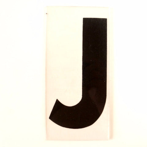 "Vintage Industrial Marquee Sign Letter ""J"", Black on Clear Thick Acrylic, 7"" tall (c.1970s) - ThirdShift Vintage"