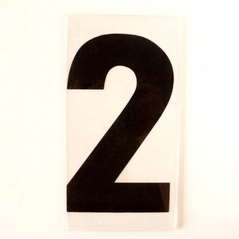 "Vintage Industrial Marquee Number ""2"" Sign, Black on Clear Thick Acrylic, 7"" (c.1970s) - ThirdShift Vintage"