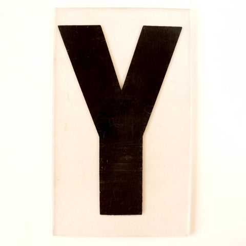 "Vintage Industrial Marquee Sign Letter ""Y"", Black on Clear Thick Acrylic, 7"" tall (c.1970s) - ThirdShift Vintage"