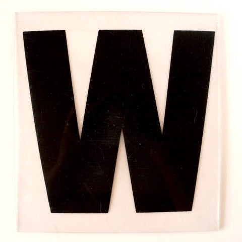 "Vintage Industrial Marquee Sign Letter ""W"", Black on Clear Thick Acrylic, 7"" tall (c.1970s) - ThirdShift Vintage"
