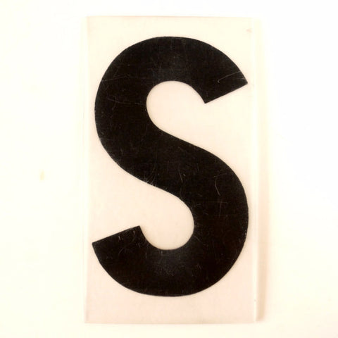 "Vintage Industrial Marquee Sign Letter ""S"", Black on Clear Thick Acrylic, 7"" tall (c.1970s) - ThirdShift Vintage"