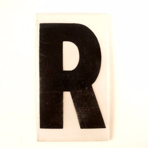 "Vintage Industrial Marquee Sign Letter ""R"", Black on Clear Thick Acrylic, 7"" tall (c.1970s) - ThirdShiftVintage.com"