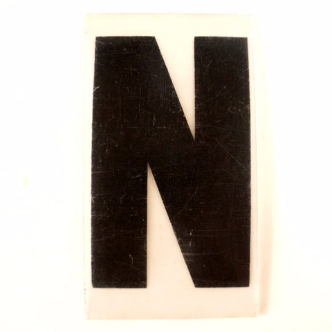 "Vintage Industrial Marquee Sign Letter ""N"", Black on Clear Thick Acrylic, 7"" tall (c.1970s) - ThirdShift Vintage"