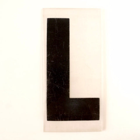 "Vintage Industrial Marquee Sign Letter ""L"", Black on Clear Thick Acrylic, 7"" tall (c.1970s) - ThirdShift Vintage"