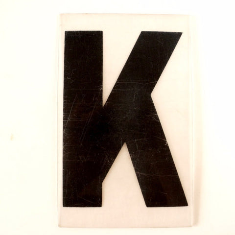 "Vintage Industrial Marquee Sign Letter ""K"", Black on Clear Thick Acrylic, 7"" tall (c.1970s) - ThirdShift Vintage"