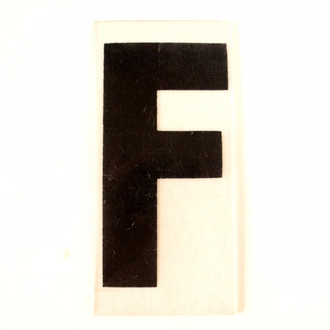 "Vintage Industrial Marquee Sign Letter ""F"", Black on Clear Thick Acrylic, 7"" tall (c.1970s) - thirdshift"