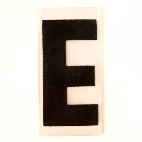 "Vintage Industrial Marquee Sign Letter ""E"", Black on Clear Thick Acrylic, 7"" tall (c.1970s) - ThirdShiftVintage.com"