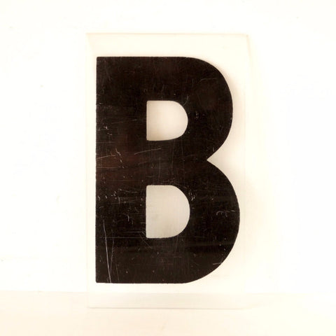 "Vintage Industrial Marquee Sign Letter ""B"", Black on Clear Thick Acrylic, 7"" tall (c.1970s) - ThirdShift Vintage"