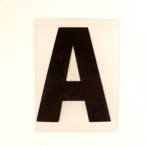 "Vintage Industrial Marquee Sign Letter ""A"", Black on Clear Thick Acrylic, 7"" tall (c.1970s) - ThirdShift Vintage"