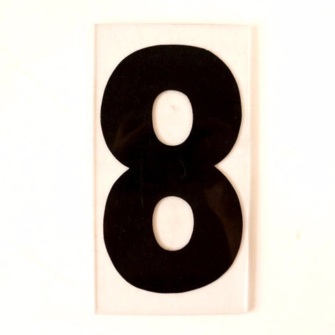 "Vintage Industrial Marquee Number ""8"" Sign, Black on Clear Thick Acrylic, 7"" (c.1970s) - thirdshift"