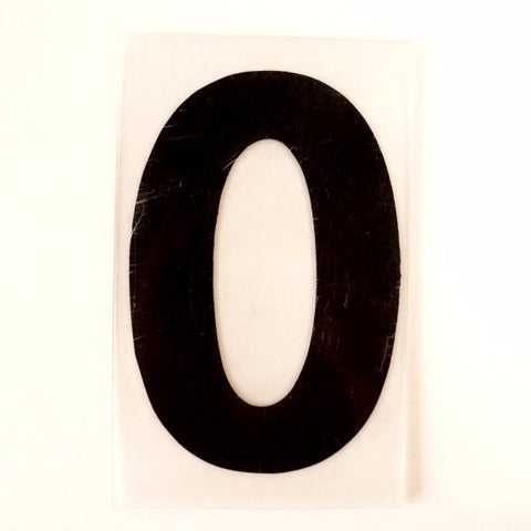 "Vintage Industrial Marquee Number ""0"" Sign, Black on Clear Thick Acrylic, 7"" (c.1970s) - ThirdShiftVintage.com"