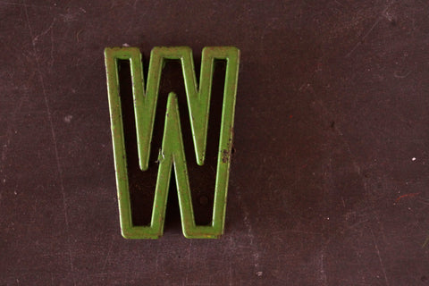 "Vintage Industrial Letter ""W"" Black with Green and Red Paint, 2"" tall (c.1940s) - ThirdShiftVintage.com"