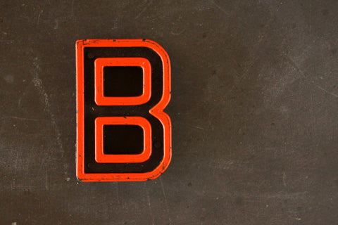 "Vintage Industrial Letter ""B"" Black with Orange and Blue Paint, 2"" tall (c.1940s) - ThirdShiftVintage.com"