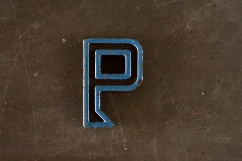 "Vintage Industrial Letter ""P"" Black with Blue and Orange Paint, 2"" tall (c.1940s) - ThirdShiftVintage.com"