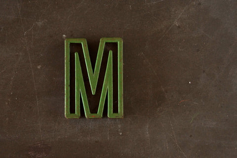 "Vintage Industrial Letter ""M"" Black with Green and Red Paint, 2"" tall (c.1940s) - thirdshift"