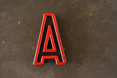 "Vintage Industrial Letter ""A"" Black with Red and Green Paint, 2"" tall (c.1940s) - thirdshift"