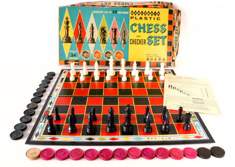 Vintage Harlequin Chess and Checker Set by Bar-Zim (c.1940s) - ThirdShift Vintage