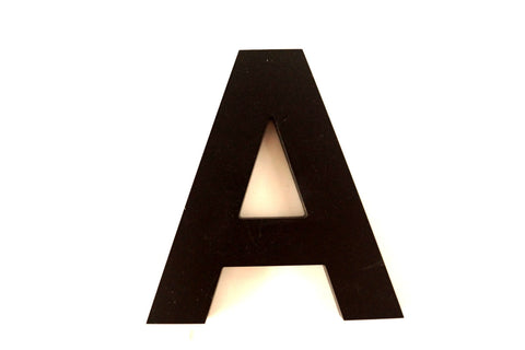 "Vintage Industrial Letter ""A"" 3D Sign Letter in Black Heavy Plastic, 5"" tall (c.1980s) - ThirdShiftVintage.com"