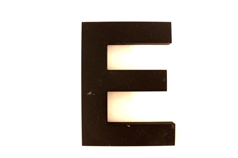 "Vintage Industrial Letter ""E"" 3D Sign Letter in Black Heavy Plastic, 5"" tall (c.1980s) - ThirdShiftVintage.com"