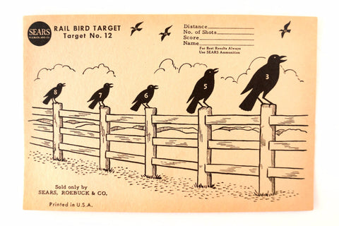 Vintage Sears Rail Bird Target No. 12 Paper Shooting Target, 9 x 6 inches (c.1940s) - thirdshift