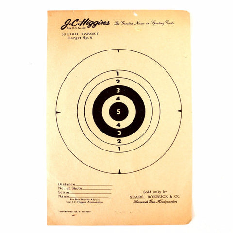 Vintage J.C. Higgins 50 Foot Target  No. 6 Paper Shooting Target, 6 x 9 inches (c.1940s) - thirdshift