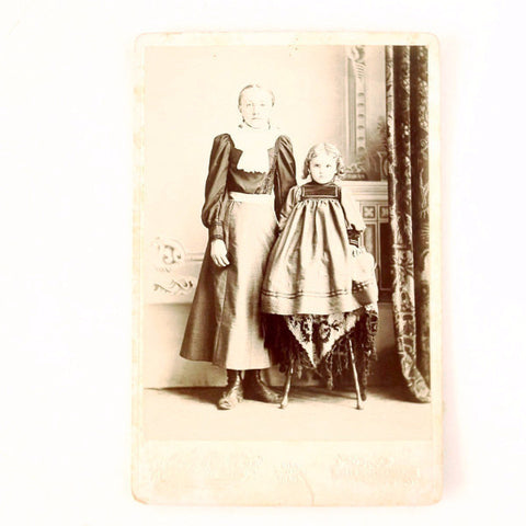 Antique Photograph Cabinet Card of Prudence and Leona Van Macklin, Iowa (c.1890s) - ThirdShift Vintage