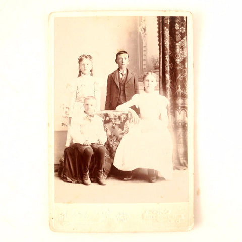 Antique Photograph Cabinet Card of Annie, Herbert, Mary and Harold Milbrath (c.1890s) - ThirdShiftVintage.com