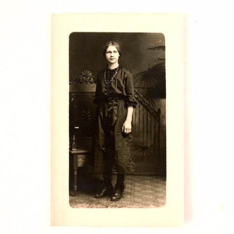 Antique Photo Post Card of Young Woman (c.1890s) - ThirdShift Vintage