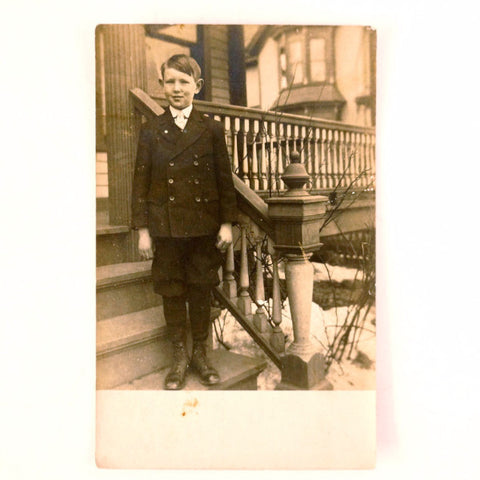 Antique Photograph Post Card of Young Boy (c.1900s) - ThirdShift Vintage