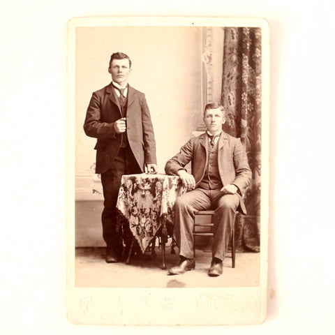 Antique Photograph Cabinet Card of 2 Young Men (c.1890s) Gottlieb and Rudolph Blatter - ThirdShift Vintage