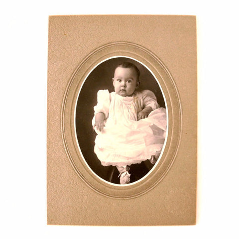 Antique Photograph of Baby Girl on Photo Card (c.1890s) - ThirdShiftVintage.com