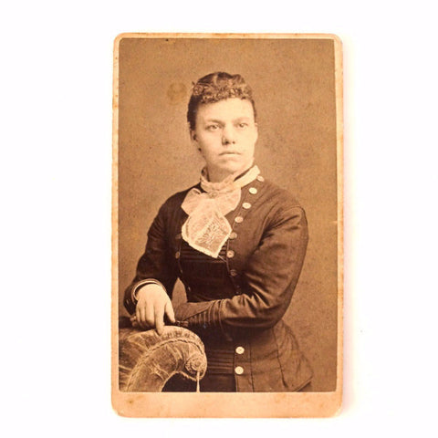 Antique Photo Cabinet Card of Woman, Helen Archer (c.1890s) - ThirdShift Vintage
