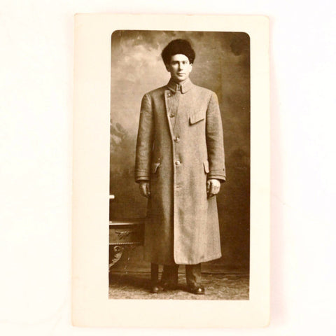 Antique Photo Post Card of Man in Long Coat with Fur Hat (c.1890s) - thirdshift