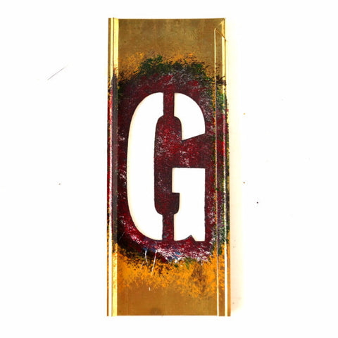 "Vintage Brass Stencil Letter ""G"" Reese's Interlocking Stencils, 4"" tall (c.1950s) - ThirdShift Vintage"