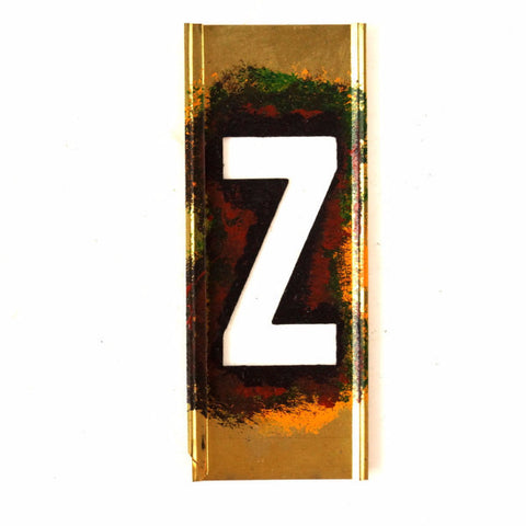 "Vintage Brass Stencil Letter ""Z"" Reese's Interlocking Stencils, 4"" tall (c.1950s) - thirdshift"