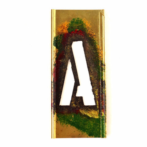 "Vintage Brass Stencil Letter ""A"" Reese's Interlocking Stencils, 4"" tall (c.1950s) - ThirdShift Vintage"