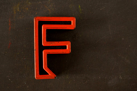 "Vintage Industrial Letter ""F"" Black with Orange and Blue Paint, 2"" tall (c.1940s) - ThirdShift Vintage"