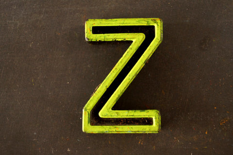 "Vintage Industrial Letter ""Z"" Black with Light Green and Light Orange Paint, 2"" tall (c.1940s) - ThirdShiftVintage.com"