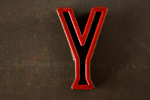 "Vintage Industrial Letter ""Y"" Black with Red and Green Paint, 2"" tall (c.1940s) - thirdshift"