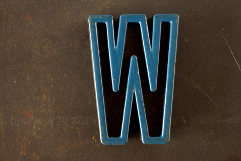 "Vintage Industrial Letter ""W"" Black with Blue and Orange Paint, 2"" tall (c.1940s) - ThirdShiftVintage.com"