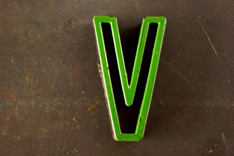 "Vintage Industrial Letter ""V"" Black with Green and Red Paint, 2"" tall (c.1940s) - ThirdShiftVintage.com"