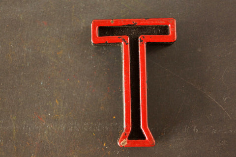 "Vintage Industrial Letter ""T"" Black with Green and Red Paint, 2"" tall (c.1940s) - ThirdShift Vintage"