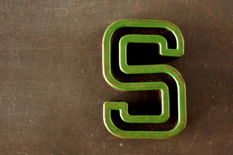 "Vintage Industrial Letter ""S"" Black with Green and Orange Paint, 2"" tall (c.1940s) - ThirdShift Vintage"