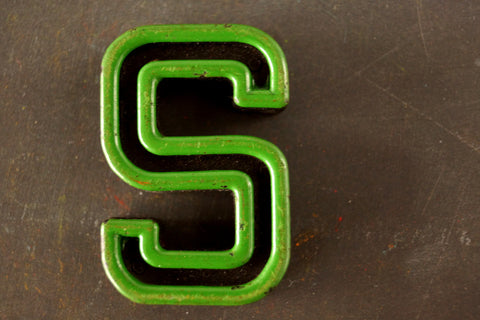 "Vintage Industrial Letter ""S"" Black with Green and Red Paint, 2"" tall (c.1940s) - thirdshift"