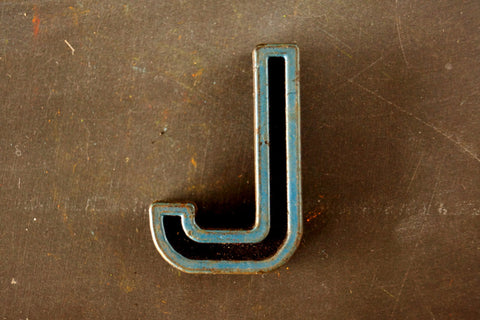 "Vintage Industrial Letter ""J"" Black with Blue and Orange Paint, 2"" tall (c.1940s) - ThirdShift Vintage"