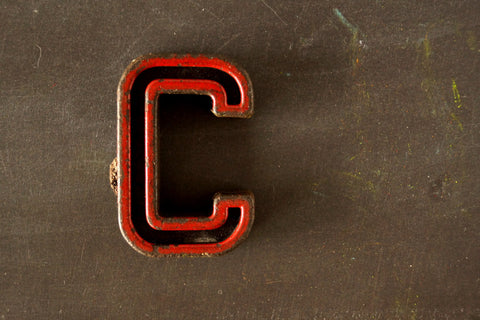 "Vintage Industrial Letter ""C"" Black with Red and Green Paint, 2"" tall (c.1940s) - ThirdShiftVintage.com"