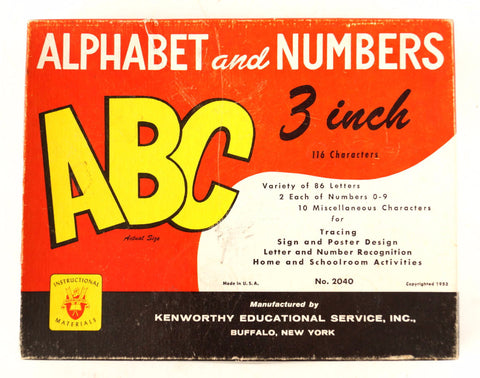 Vintage Kenworthy Alphabet and Numbers Set (c.1953) - ThirdShiftVintage.com